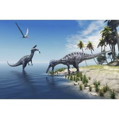 Suchomimus dinosaurs feed on fish on the shoreline Canvas Art - Corey FordStocktrek Images (35 x 23)