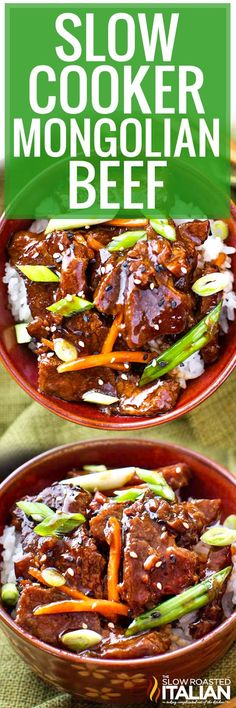 Slow Cooker Mongolian Beef recipe is the easiest way to make Mongolian Beef! Perfectly tender beef in a silky ginger soy glaze, with great sweet and spicy flavors!