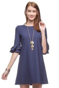 Navy Ruffled Sleeve Dress, Casual Dress - RissyRoos.com