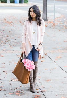 Cocoon sweater cardigan, over the knee boots, casual cute outfit, fall fashion, petite fashion blog