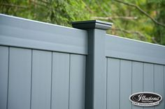 V300-6 Tongue and Groove Privacy Fence shown in the Grand Illusions Color Spectrum shown in Slate Gray (E105) with New England Caps.