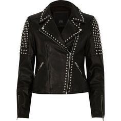 River Island Black studded leather biker jacket (1.040 BRL) ❤ liked on Polyvore featuring outerwear, jackets, black, coats / jackets, women, fur-collar leather jackets, motorcycle jacket, leather motorcycle jacket, leather moto jacket and biker jackets
