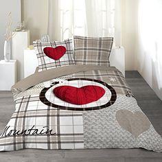 Douceur D'Intérieur - Copripiumino Matrimoniale 240 X 220 cm e 2 Federe 63 x 63 cm, Love Mountain, Reversibile, 100% Cotone