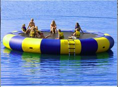 Rave Aqua Jump diameter water trampoline manufactured with commercial quality materials for pond and lake recreation Water Trampoline, Backyard Trampoline, Pool Water, Trampolines, Marie Et Max, Lake Rafts, Lake Floats, Lake Toys, Cool Pool Floats