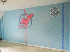 Hockey room mural by Michelle Black acoloraffair.com