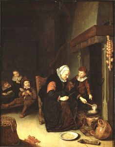 Abraham de Pape, Pannenkoekenbakster (ca. 1650)