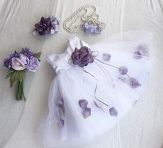 Soft Ivory White Satin Tulle Lavender Rose Petals by PurdyGurly