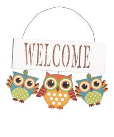 Take a look at this White 'Welcome' Owl Wall Art by What a Hoot: Owl Textiles & Décor on @zulily today!