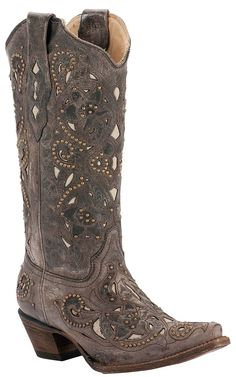 Corral® Ladies Distressed Brown w/ Bone Inlay & Bronze Studs Snip Toe Western Boots | Cavender's