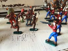 Antique Lead/Tin Cowboys and Indians, Set of 14, 7 Cowboys, 7 Indians. by PaintedLadyAntiques on Etsy