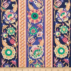Iznik Kasimir Amethyst from @fabricdotcom  Designed by Snow Leopard Designs for Free Spirit, this cotton print is perfect for quilting, apparel and home decor accents. Colors include pink, peach, read, green, purple, and cream.