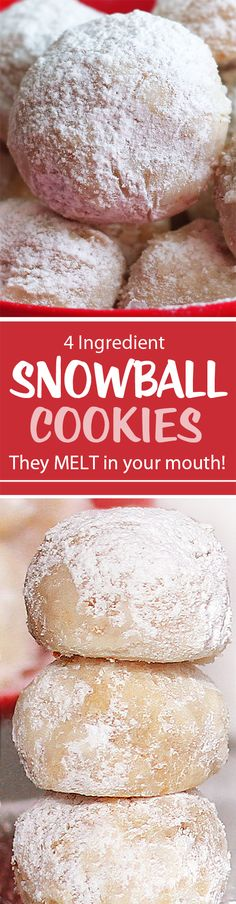 Snowball Cookies That MELT In Your Mouth! These buttery snowball cookies are addictive and the perfect Christmas cookie recipe! Köstliche Desserts, Delicious Desserts, Dessert Recipes, Yummy Food, Snowball Cookies, Xmas Cookies, Owl Cookies, Holiday Baking, Christmas Baking