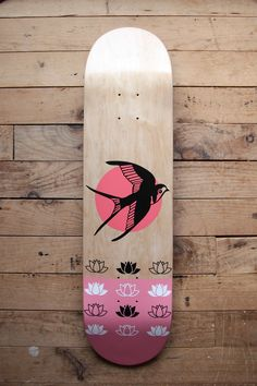 Swallow and water lily, pink skateboard by Jackalop Painted Skateboard, Skateboard Deck Art, Skateboard Parts, Skateboard Design, Skateboard Girl, Custom Skateboard Decks, Custom Skateboards, Cool Skateboards, Art Rose