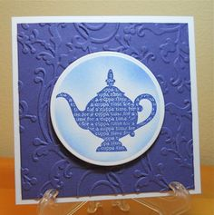 Teapot Notecard, stamped, sponged, embossing folder