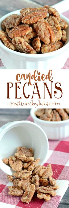 You must try these Candied Pecans. They are so easy to make, and so delicious. They are just perfect for snacking, or tossing in salads!