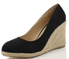Delicious Women's Parma Round Toe Espadrille Wedge Slip on Sandals, Black, Oat, Red, Starting at $29.44