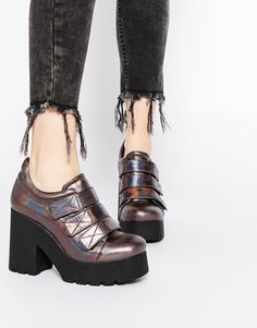 Image 1 of Eeight Mekhi Metallic Holographic Grunge Sole Heeled Shoes