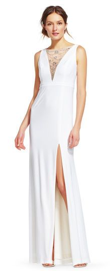 Adrianna Papell | Jersey Dress with Jeweled Illusion Neckline tried on not great