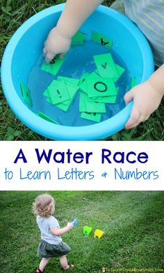 Toddler and preschoolers will love this water race to learn letters and numbers! Outdoor Games For Preschoolers, Outdoor Water Activities, Outside Activities, Water Games For Kids, Indoor Activities For Kids, Outdoor Learning, Toddler Activities, Family Activities, Rain
