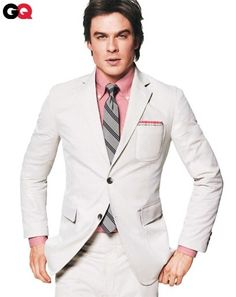 Ian Somerhalder in GQ - The best brightly colored dress shirts for Spring 2010 are highlighted in the Ian Somerhalder GQ spread. Former model, 'Lost' actor and current 'Va. Vampire Diaries, Gq, Paul Wesley, Damon Salvatore, Ian Somerhalder, Look Formal, Formal Wear, Dapper Gentleman, White Suits