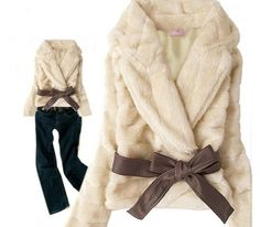 Woman's Short Faux Fur Coat with Belt in Beige. NOW only $39.95