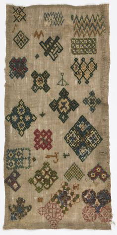 Random spot sampler, detached motifs embroidered with colored silks and metallic thread in interlacing and geometric designs. Medieval Embroidery, Embroidery Sampler, Vintage Embroidery, Embroidery Stitches, Textile Patterns, Textile Art, Louise Bourgeois, Thread Art, Vintage Textiles