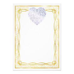Gold Filigree & Lavender Hearts Blank Valentine