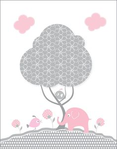 Kids wall art, 11X14 Gray and pink elephant nursery prints for baby girls, nursery wall art, April print of the month, bird, tree wall decor. $13.00, via Etsy.
