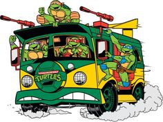 This car is my personal favorite, because it was so awesome to watch in the cartoon TMNT. I think anybody would recognize it. Teenage Mutant Ninja Turtles, Thundercats, Ninja Turtle Van, Gi Joe, Turtles Forever, Arte Nerd, Ninja Turtles Art, Cartoon Tattoos, American Comics