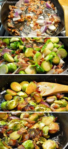 Brussel Sprouts And Onions Recipe, Sauteed Brussel Sprouts, Cooking Brussel Sprouts, Recipes With Bacon And Onion, Onion Recipes, Asparagus Bacon, Asparagus Recipe, Bacon Fries, Side Dish Recipes