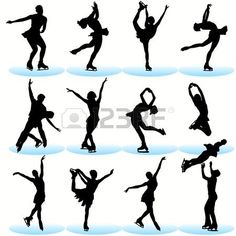Figure Skating Silhouettes Set Royalty Free Cliparts, Vectors, And Stock Illustration. Ice Skating Quotes, Figure Skating Quotes, Figure Skating Dresses, Ice Skate Drawing, Skating Pictures, Ice Skaters, Winter Pictures, Free Illustrations, Figure Drawing