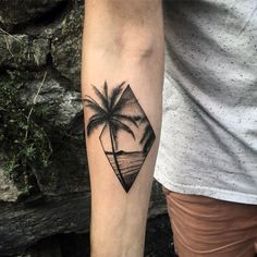 Guys Small Palm Tree With Beach Inner Forearm Tattoo Designs