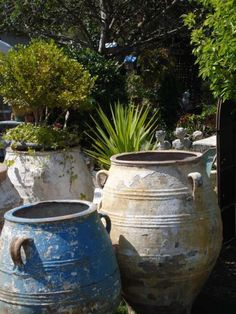 garden planters century garden urns found south west of Paris on table from Avignon France Pots D Anduze Greek amphoras French # Garden Urns, Diy Garden, Garden Planters, Planter Pots, Stone Planters, Indoor Garden, Garden Care, Container Plants, Container Gardening