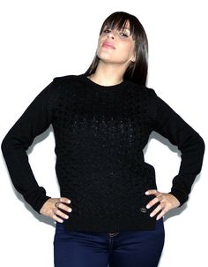 Sweater Negro Trenzado (Scombro) $649.00 Turtle Neck, Sweaters, Fashion, Black Sweaters, Wraps, Moda, Fashion Styles, Sweater, Fashion Illustrations