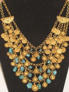 Stunning Unsigned Miriam Haskell 5 Strand Bib Necklace w/Turquoise Stones, Filigree Balls & Textured Coins