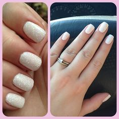 Baby shower, 3D glitter nails. White gel manicure with baby pink glitter poured on top