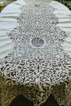 VTG Madeira Linen Tablecloth Cutwork Hand Embroidered Dining Table Monogram #HandmadeMadeira