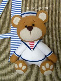 """Ateliê do Bebê MG: Inicial em MDF """" Urso Marinheiro Arthur """""""