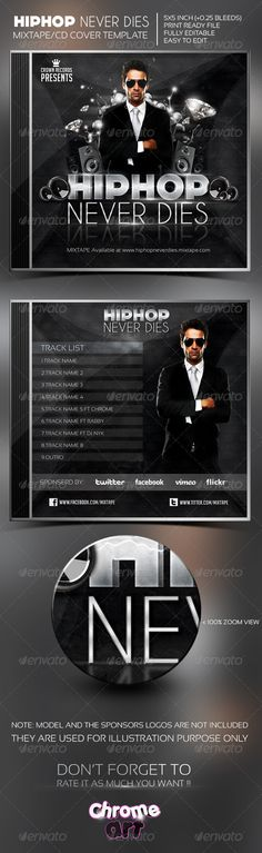 Hip Hop Never Dies Mixtape/CD Cover — Photoshop PSD #elegant #modern • Available here → https://graphicriver.net/item/hip-hop-never-dies-mixtapecd-cover/5165540?ref=pxcr