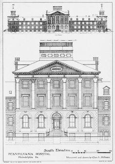 Elevation of the Pennsylvania Hospital, Philadelphia