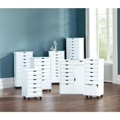 Home Decorators Collection Stanton 29 in. White Double Wide Storage Cart 0201010410 - The Home Depot Craft Room Storage, Bedroom Storage, Bedroom Decor, Craft Rooms, Craft Room Tables, Ikea Storage, Drawer Storage, Bedroom Ideas, Makeup Storage Cabinet