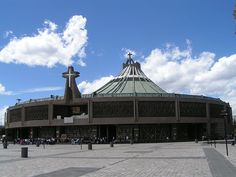 The Basilica of Guadalupe or Basilica of Our Lady of Guadalupe in Mexico is built on top of Tepeyac hi