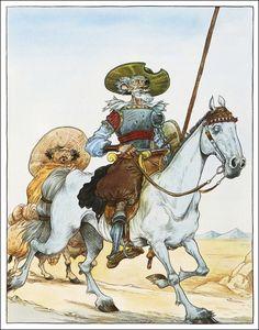 Don Quixote/ Miguel De Cervantes, retold by Martin Jenkins/ Walker Books, Illustrator: Chris Riddell Comic Books Art, Book Art, Chris Riddell, Man Of La Mancha, Dom Quixote, Quentin Blake, Sketch Inspiration, Children's Book Illustration, Art Illustrations