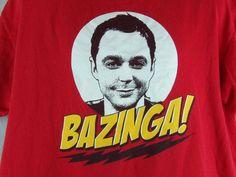 """Bazinga!"" - Sheldon - Big Bang Theory -  Men's Red T Shirt Size 2X  100% Cotton #RippleJunction #GraphicTee"