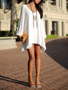 Open Arm White Summer Dress – Lyfie