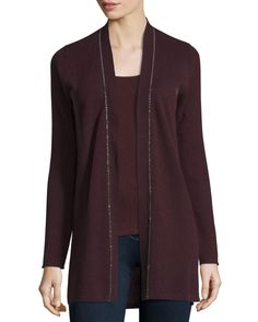 Long Chain-Trimmed Open-Front Cashmere Cardigan, Women's, Size: XS, Aubergine - Neiman Marcus Cashmere Collection