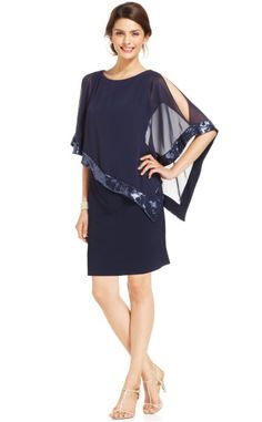 Xscape blouson sequin cocktail dress
