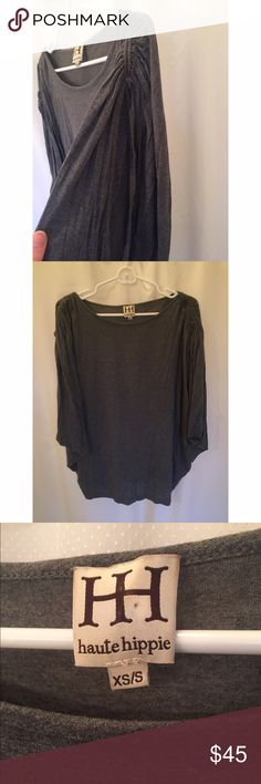 Trendy Haute Hippie Grey Slouchy Top Very cool dark grey top from Haute Hippie. Has deep armholes so that the top almost appears sleeveless on-person. Fits very loosely on the body- works great on an apple shape. Haute Hippie Tops Tees - Short Sleeve