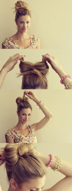 Cute Medium Blonde Bow Hairstyle
