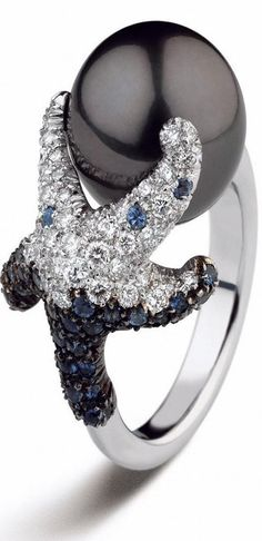 Trendy Diamond Rings : Mikimoto 12mm Black South Sea cultured pearl with diamonds and sapphires